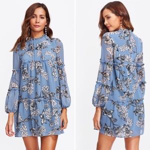 Blue Botanical Flower Dress